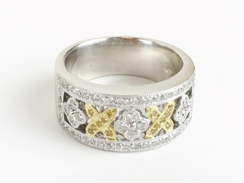 LADIES 18KT WG WHITE & YELLOW DIAMOND RING APX .82CTW