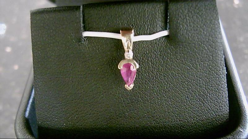Ruby Gold-Diamond & Stone Pendant .01 CT. 14K Yellow Gold 0.5g