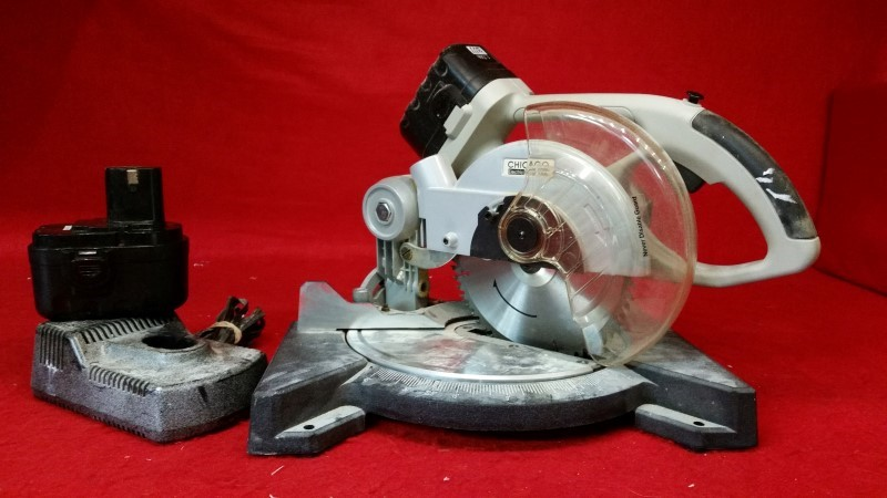 Chicago Electric 24v Cordless Miter Saw - 2 Batteries & Charger