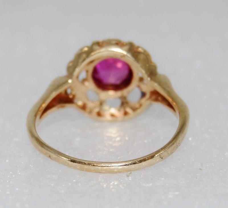 14K Yellow Gold Vintage Inspired Flower Pink Tourmaline Ring sz 8.25