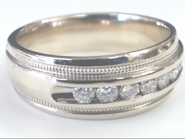 VINTAGE NATURAL DIAMOND WEDDING RING BAND SOLID 14K WHITE GOLD SZ 10