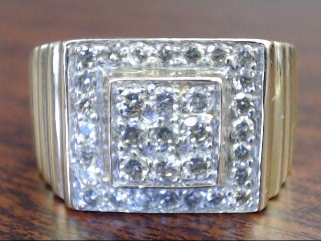 VINTAGE DIAMOND CLUSTER RING SOLID REAL 14K GOLD MEN SQUARE RIB 11.5