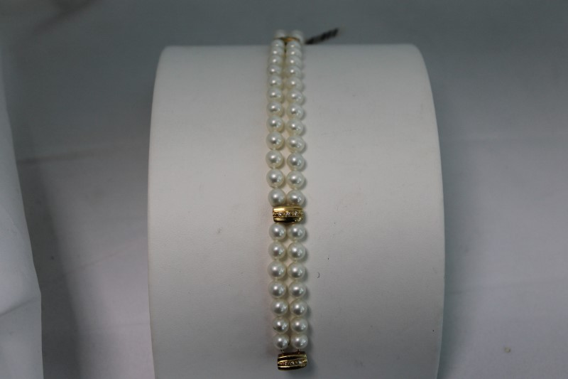 6mm Cultured White Pearl Round Diamond Bracelet
