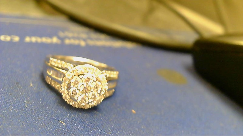 Lady's Diamond Cluster Ring 62 Diamonds 1.46 Carat T.W. 10K White Gold 4.8g