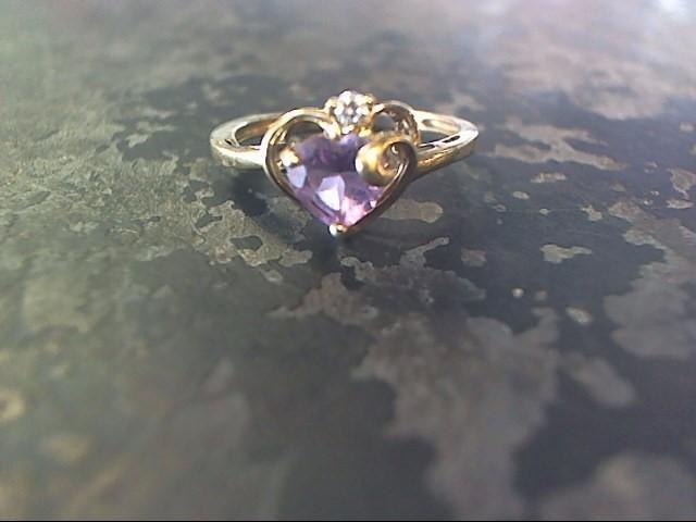 Purple Stone Lady's Stone Ring 10K Yellow Gold 1.1dwt
