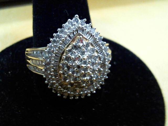 Lady's Diamond Cluster Ring 35 Diamonds .35 Carat T.W. 10K Yellow Gold 4.7g