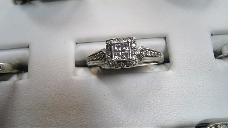 Lady's Diamond Engagement Ring 29 Diamonds .77 Carat T.W. 10K White Gold 2.3g