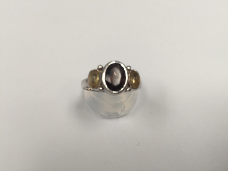 Purple Stone Lady's Silver & Stone Ring 925 Silver 3.3g Size:4.5