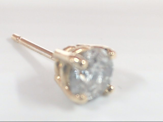VINTAGE DIAMOND SOLITAIRE STUD SINGLE EARRING SOLID 14K GOLD ROUND