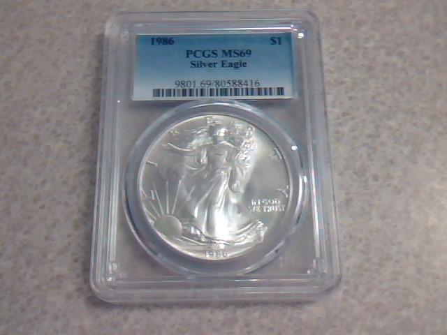 1986 $1 Silver Eagle PCGS MS69