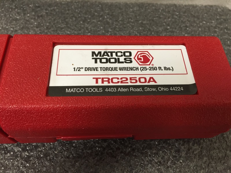 MATCO TOOLS TRC250A TORQUE WRENCH 50-250 FT LB IN RED HARD CASE
