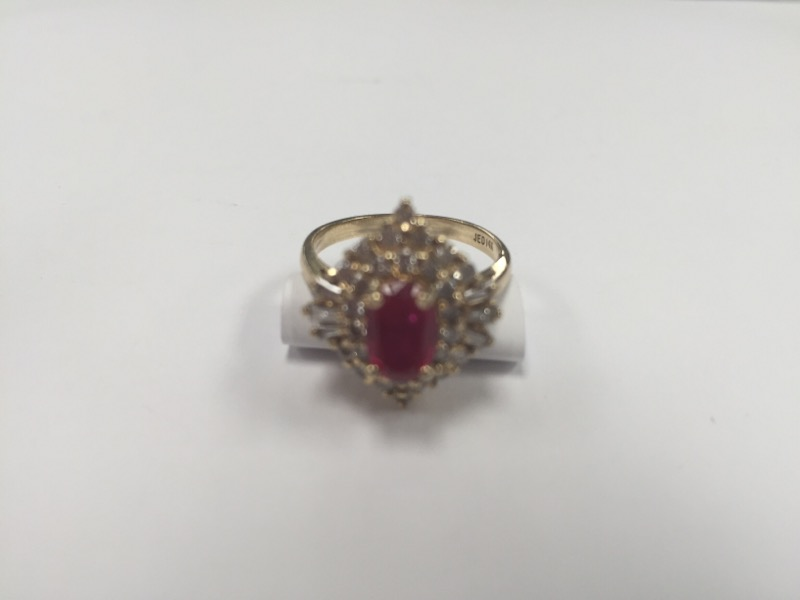 Ruby Lady's Stone & Diamond Ring 34 Diamonds .86 Carat T.W. 14K Yellow Gold