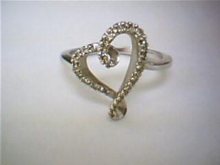 White Stone Lady's Stone Ring 10K White Gold 3g
