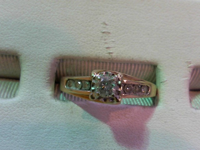 Lady's Diamond Engagement Ring 9 Diamonds .39 Carat T.W. 10K Yellow Gold 3.6g