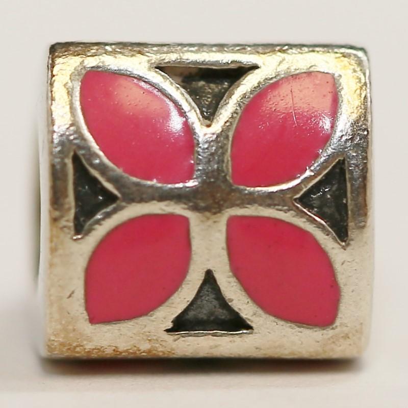 Pandora Tri-Sided Pink Enamel Flower Charm