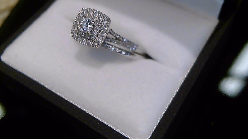 Lady's 10k white gold appx 1cttw round diamond cluster wed set