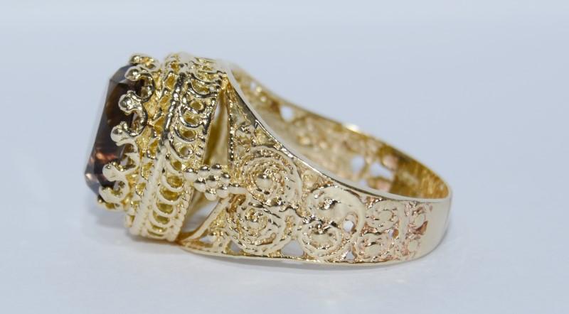 14K Yellow Gold Vintage Inspired Full Bezel Ornate Smokey Topaz Cocktail Ring