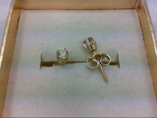 Gold-Diamond Earrings 2 Diamonds .24 Carat T.W. 14K Yellow Gold 0.6g