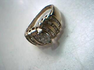 Lady's Diamond Solitaire Ring 44 Diamonds 1.13 Carat T.W. 14K Yellow Gold 7.7g