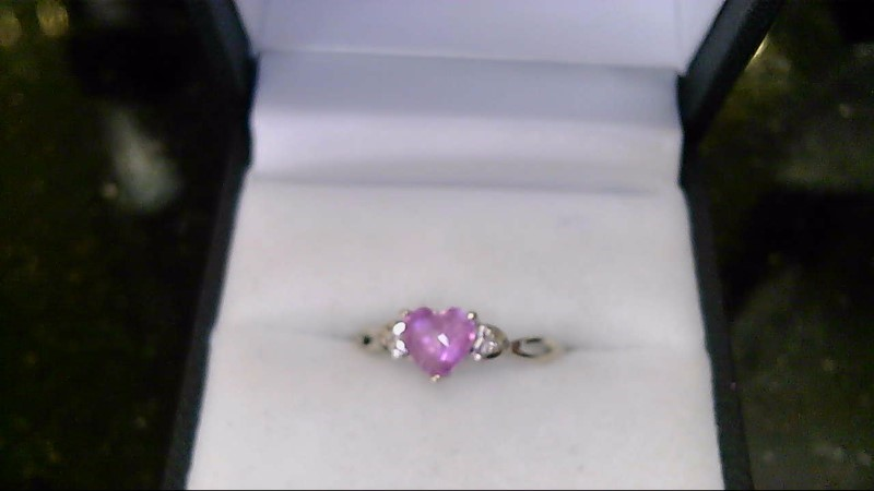 Lady's 10k white gold pink heart with 2-dia ring