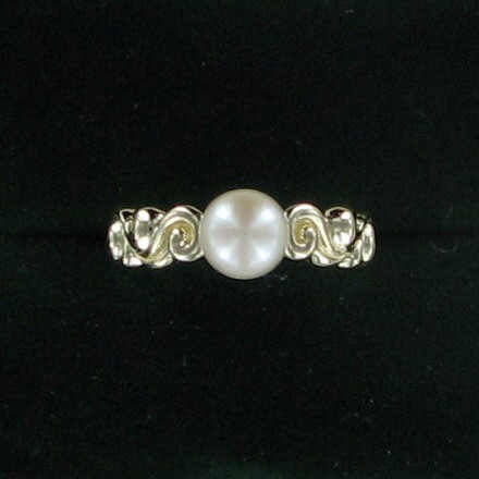 Synthetic Pearl Lady's Stone Ring 14K Yellow Gold 3.3dwt