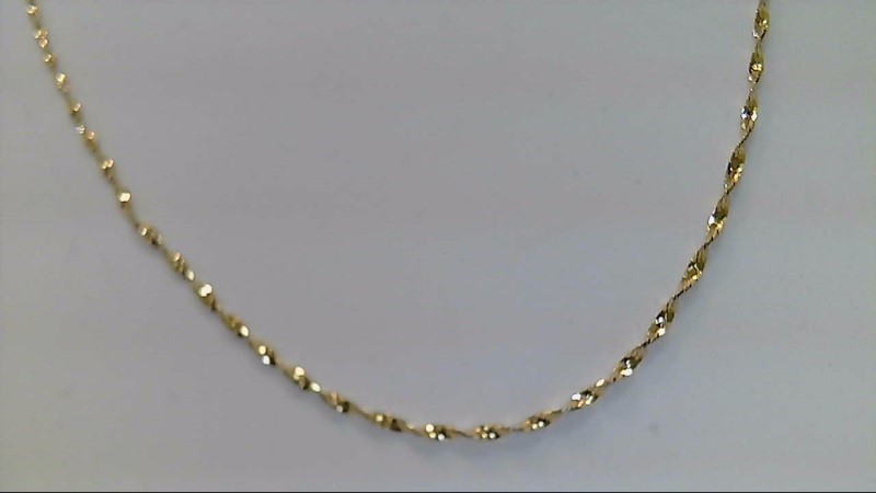 Lady's 14kyellow gold 24inch singapore chain
