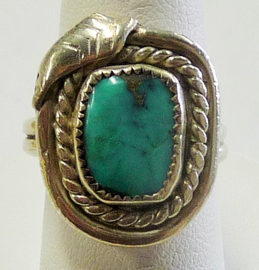 Synthetic Turquoise Gent's Silver & Stone Ring 925 Silver 4.61dwt