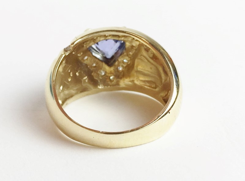 Opal Tanzanite & Diamond Ring 29 Diamonds .58 Carat T.W. 14K Yellow Gold