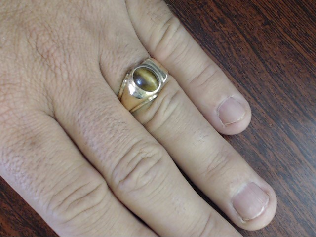 VINTAGE TIGER EYE RING SOLID REAL 10K GOLD MEN OVAL CABO SIZE 10.5