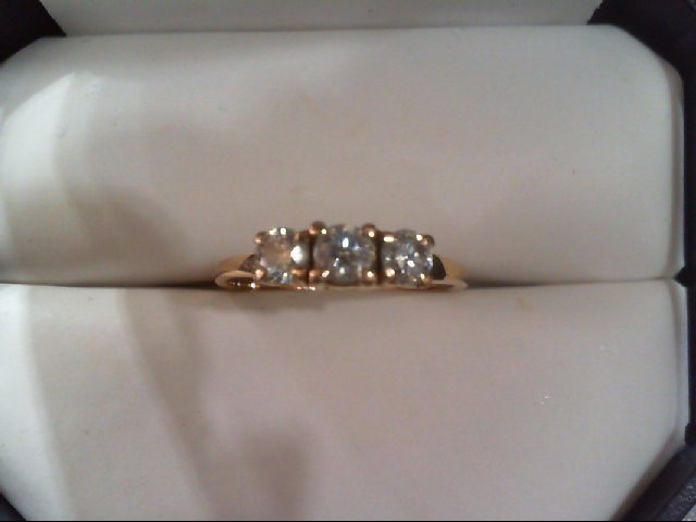 Lady's Gold-Diamond Anniversary Ring 3 Diamonds .50 Carat T.W. 18K Yellow Gold