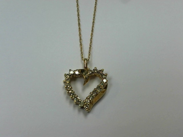 Diamond Necklace 20 Diamonds .20 Carat T.W. 10K Yellow Gold 2.8g
