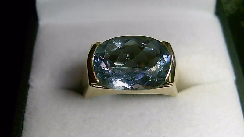 Sky Blue Topaz Lady's Stone Ring Yellow Gold 10K