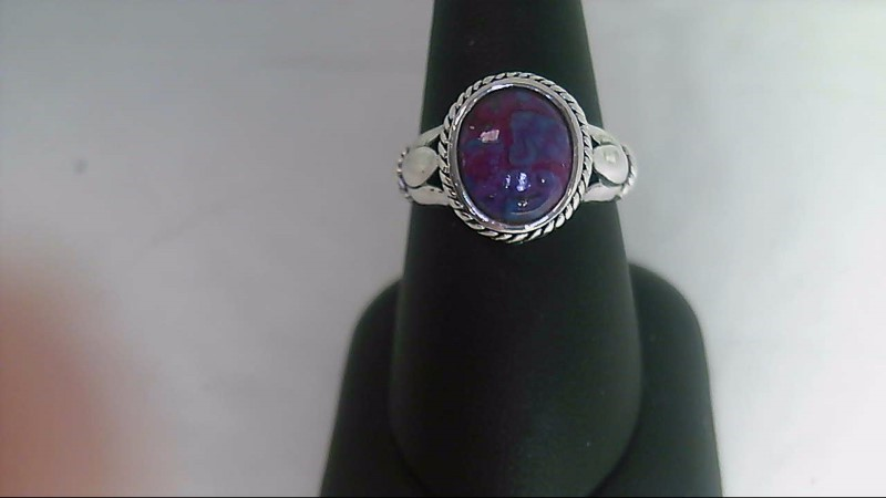 Oval Purple Stone Sterling Silver Ring 925