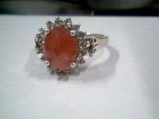 Pink Stone Lady's Silver & Stone Ring 925 Silver 5.4g Size:10