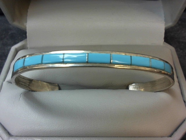Synthetic Turquoise Silver-Stone Bracelet 925 Silver 8.1g