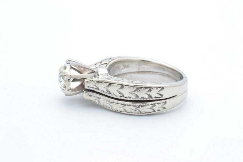 NATURAL DIAMOND WEDDING SET RING BAND SOLID 14K WHITE GOLD ENGAGE 4