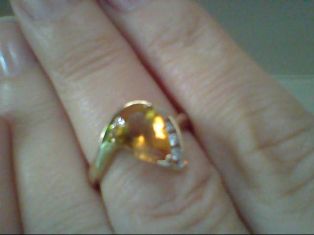 Yellow Stone Lady's Stone & Diamond Ring 3 Diamonds .06 Carat T.W.