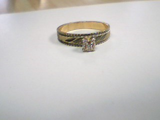 Synthetic Cubic Zirconia Lady's Stone Ring 14K 2 Tone Gold 2.8g Size:7
