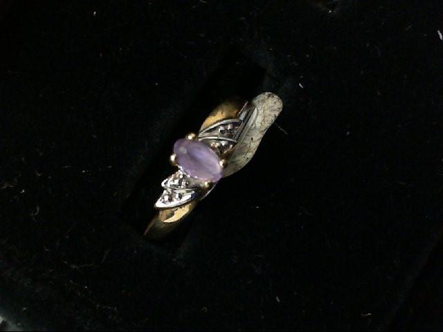 Purple Stone Lady's Stone Ring 10K Yellow Gold 1.6g