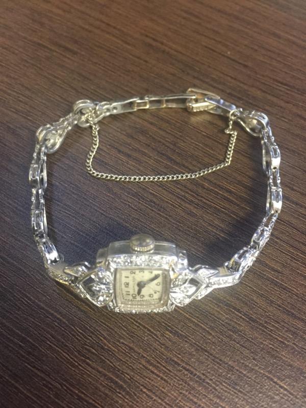 Platinum Hamilton Ladies Watch with Diamonds