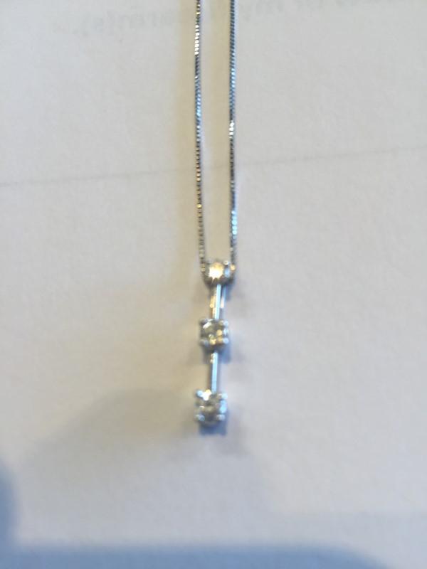 Diamond Necklace 3 Diamonds .18 Carat T.W. 14K White Gold 1.9g