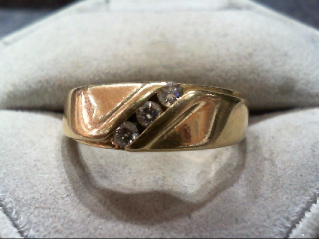 Gent's Gold-Diamond Wedding Band 3 Diamonds .24 Carat T.W. 14K Yellow Gold 8.1g