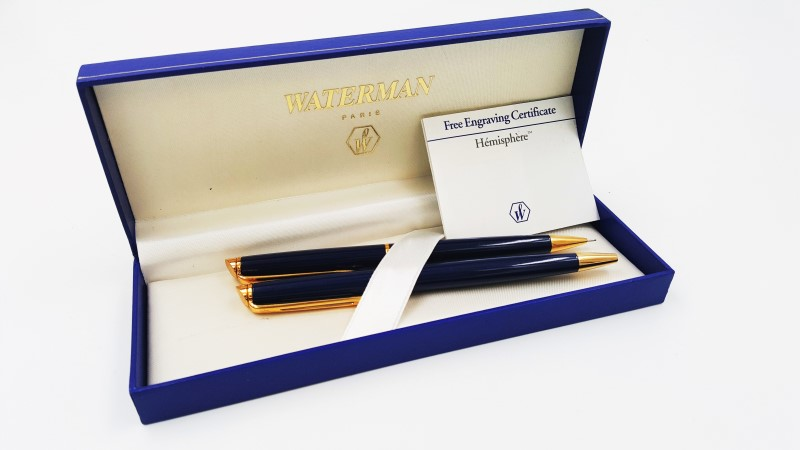 Waterman Hemisphere Essential Gold Tone & Blue Pen & Mechanic Pencil
