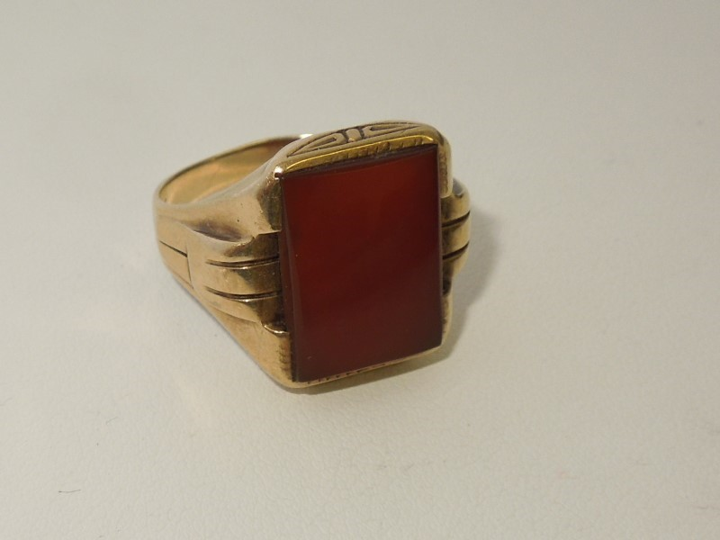 Synthetic Carnelian Gent's Stone Ring 10K Yellow Gold 6.6g Size:11.5