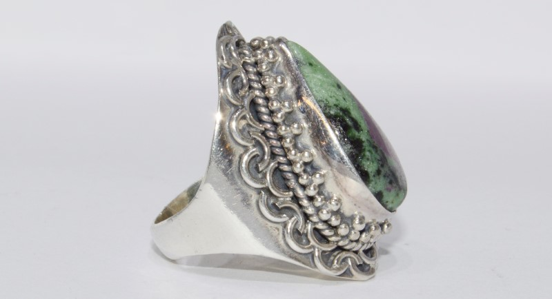 Sterling Silver Vintage Inspired Filigree Pear Ruby Zoisite Statement Ring sz 6