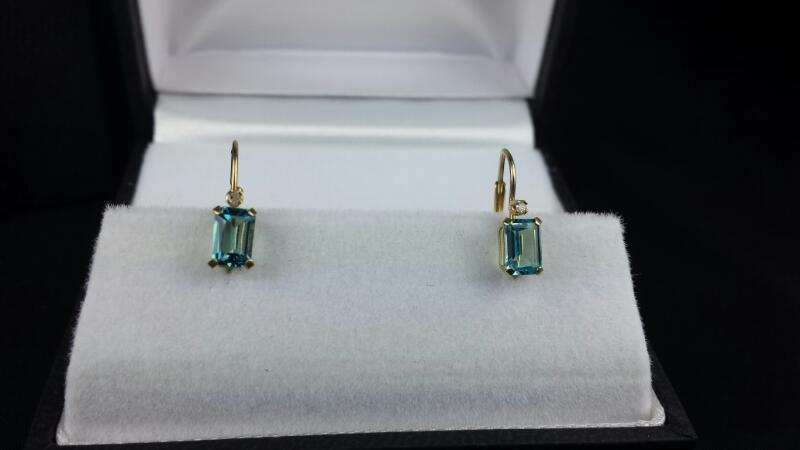 Estate Emerald Cut Blue Topaz 2 Round Diamond Yellow Gold Earrings 14k YG