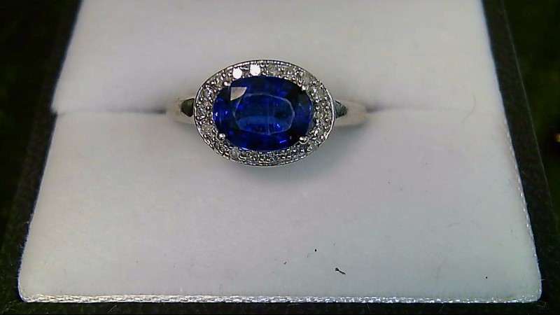 Lady's Synthetic Blue Sapphire and Diamond 10K White Gold Ring
