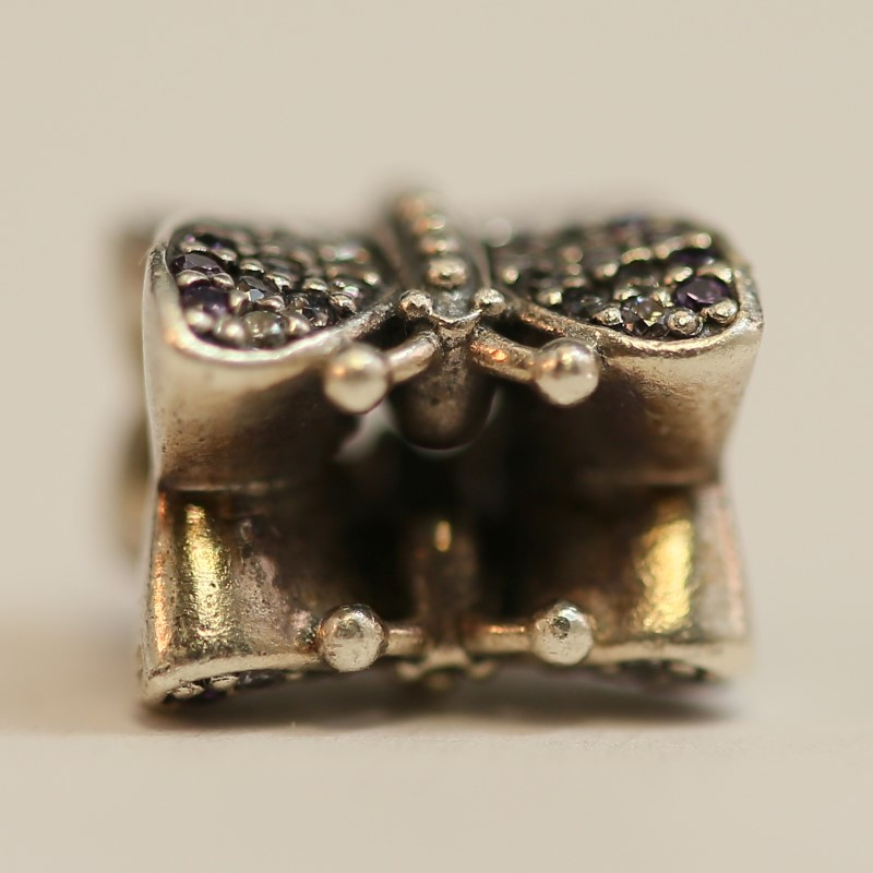 Pandora Sparkling Butterfly Charm With Purple and Clear Stones