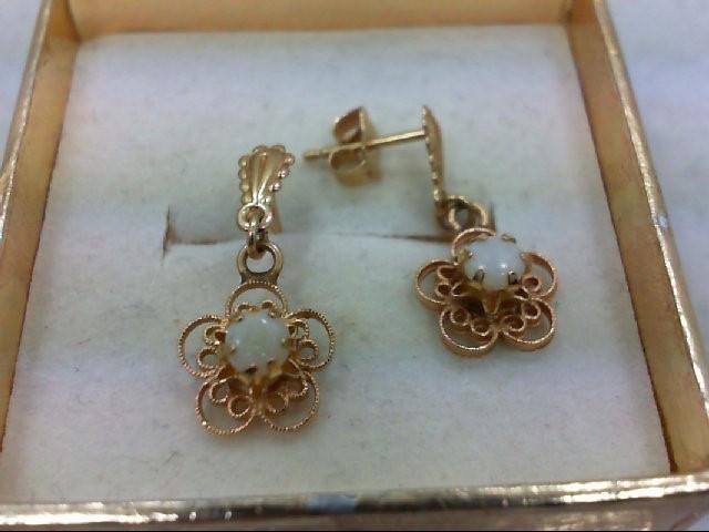 Opal Gold-Stone Earrings 14K Yellow Gold 1.4g