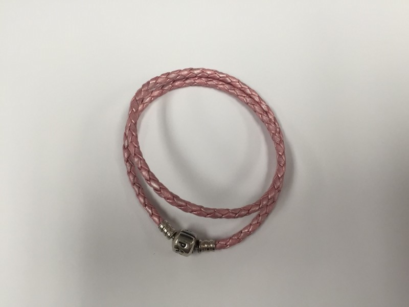 PANDORA PINK, DOUBLE LEATHER BRACELET 590705CMP-5 WITH BARREL SILVER CLASP